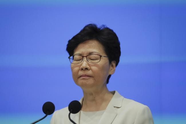 Hong Kong Chief Executive Carrie Lam during a press conference at the Legislative Council