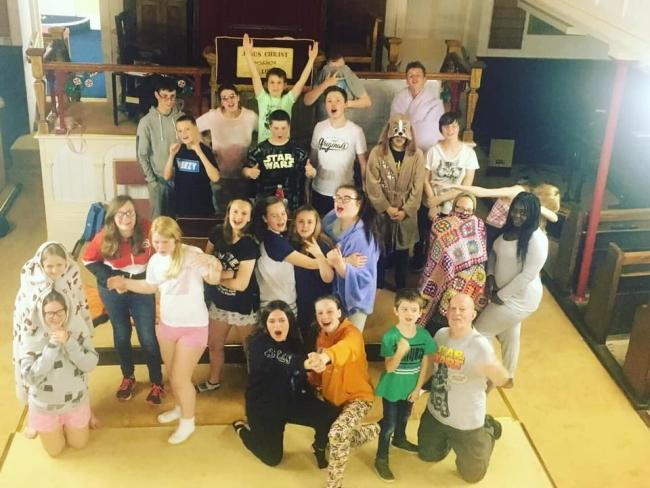 sleepover: The group raised money for the church's homeless outreach scheme Picture: Noddfa Baptist Church