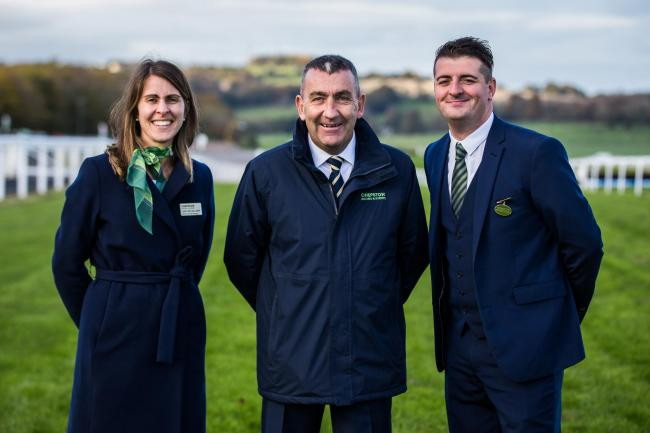 Here I am at Ffos Las with Caroline Williams, general manager at Chepstow, and Simon Rowlands, right, general manager at Ffos Las