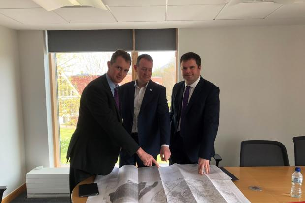 David Davies MP with Monmouthshire County Council chief executive Paul Matthews and Wales Office Minister Kevin Foster.