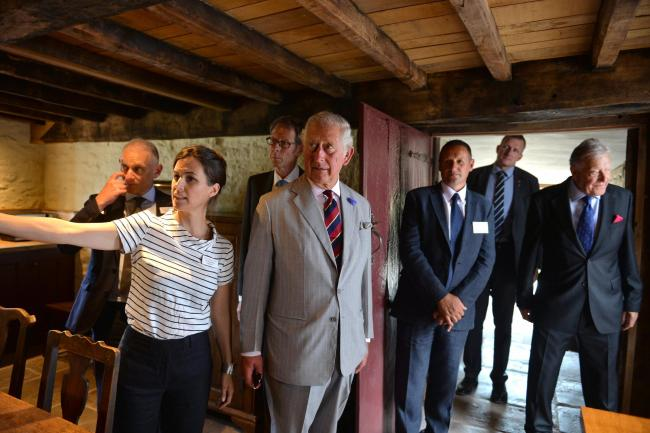 Prince Charles looks around the restored Llwyn Celyn near Llanvihangel Crucorney on a visit to Monmouthshire in July 2018. Picture: www.christinsleyphotography.co.uk.