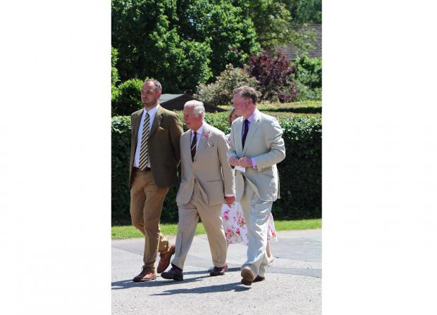 Free Press Series: Prince Charles with Ross Murray (right), the deputy lieutenant of Gwent; and Tom Jones, resident agent at Llanover Estate. Picture: courtesy of Ross Murray