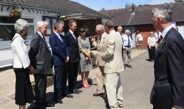 Free Press Series: Prince Charles meets (L-R) Cllr Sheila Woodhouse, Chris Woodhouse, Paul Matthews, David Davies MP, and Cllr Sara Jones. Picture: courtesy of Ross Murray
