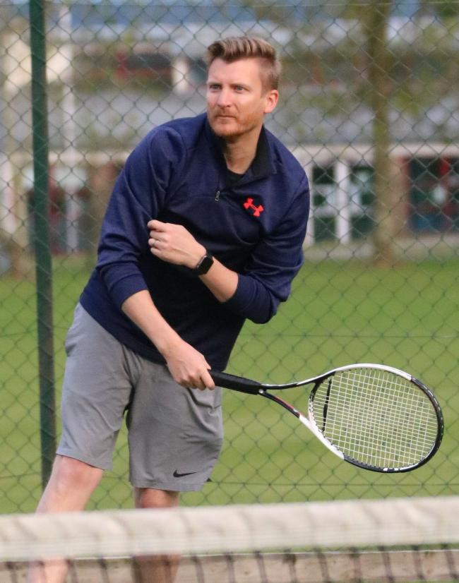 Ben Durman, pictured, and partner Gavin Reid won two matches to help Chepstow Men's team to victory over the league leaders