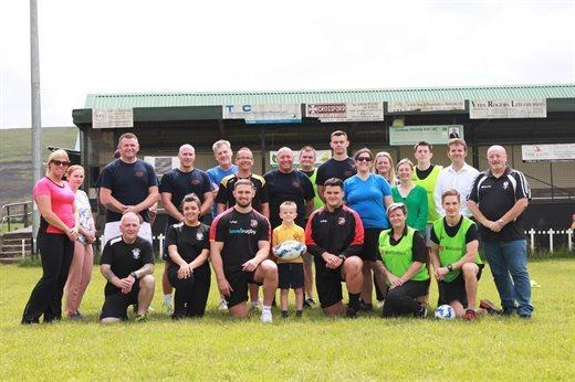 Dragons stars Harri Keddie and Chris Coleman took part in a walking rugby session in Blaenavon as part of a campaign to inspire healthy living in youngsters. Picture: Torfaen council