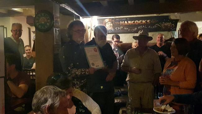 Steve Pocock of The Fountain Inn, Trellech, holds the CAMRA award for Gwent Country Pub of the Year 2019.