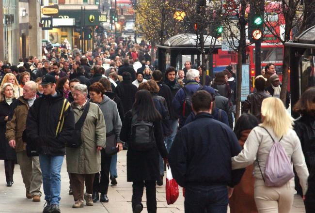 File photo dated 21/12/02 of shoppers on Oxford Street. Shoppers turned away from UK high streets in droves last month, as footfall plummeted to its worst June figures for seven years. PRESS ASSOCIATION Photo. Issue date: Monday July 15, 2019. Footfall at