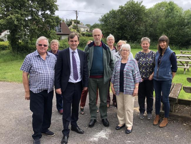 Nick Ramsay AM (third from left) during a recent visit to The Bryn, where residents have been campaigning for measures to reduce road noise on the A40