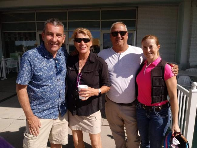 Here I am holidaying in the States where I met jockeys' agent Penny Ffitch Heyes, second left, trainer Tony Mitchell and jockey Sophie Doyle, right