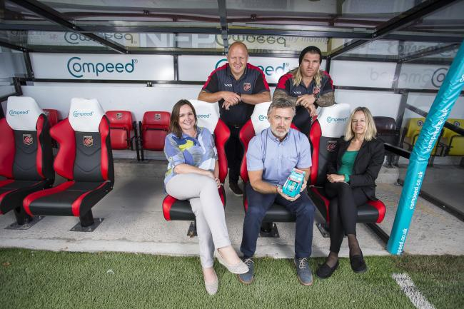 Tracy James, Global Marketing Lead, and Clare Newins, Marketing Manager UK, from Compeed join first team players Richard Hibbard and Brok Harris plus Dragons' Managing Director Mark Jones to launch the new partnership.