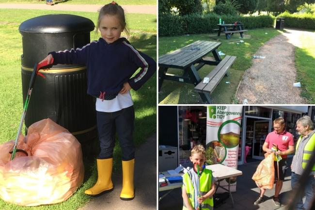 Some of Keep Abergavenny Tidy's younger volunteers on the most recent litter-pick