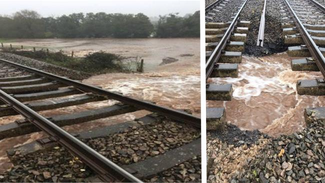 Flood damage to railway at Pontrilas Picture: Transport for Wales