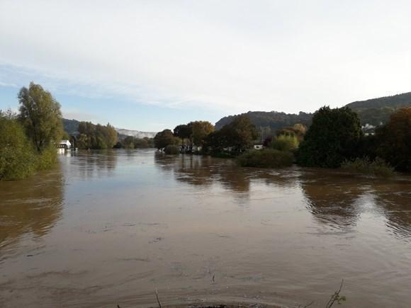 Rising water levels in the River Wye near the Riverside Residential Park, Monmouth, where residents are being evacuated from their homes. Picture: NRW