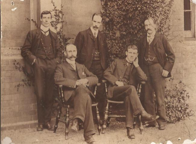 The West Monmouthshire School for Boys in Pontypool School Assistant Masters from 1902-03: back row (L-R) Messrs Buck, Abraham and Ottaway, front: (L-R) Messrs Cole and Evans. Picture: Torfaen Museum.