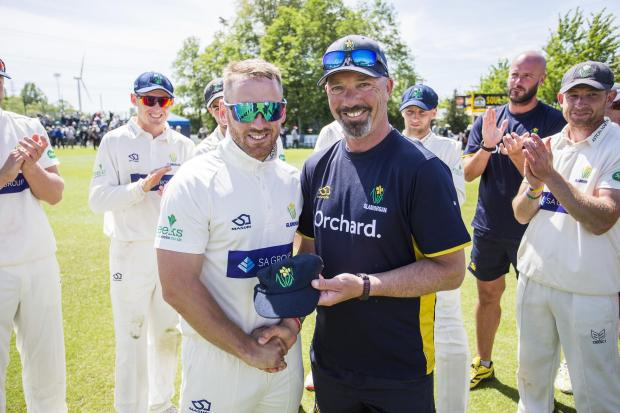 THE BOSS: Glamorgan head coach Matthew Maynard, pictured presenting David Lloyd with his cap in Newpor