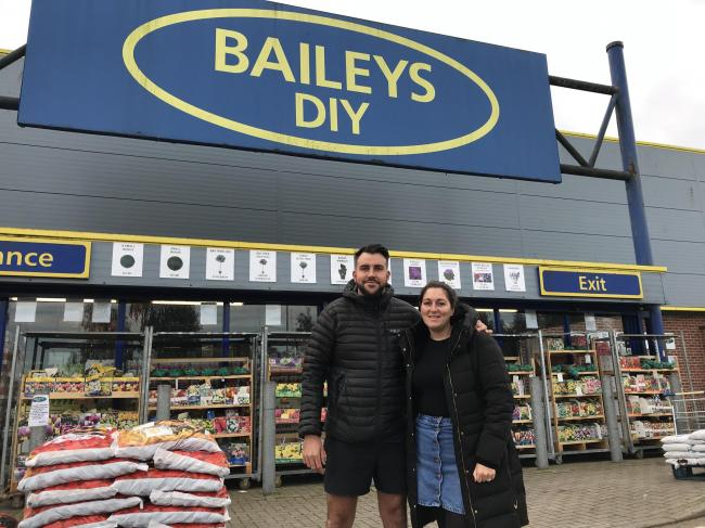 Baileys DIY directors Matthew and Katie Bailey outside their store.