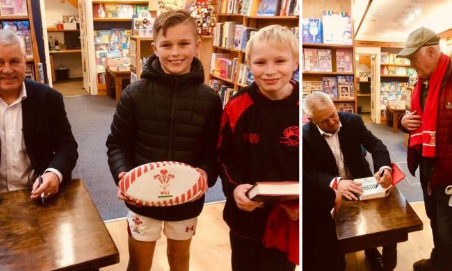 Former Wales rugby coach Warren Gatland with Mason Whittle and Ellis Watkins (left) and Glyn Jones at the book signing in Chepstow.