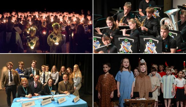 (Clockwise from top left) the Christingle service, the orchestra concert, the nativity play, and the quiz with teachers.