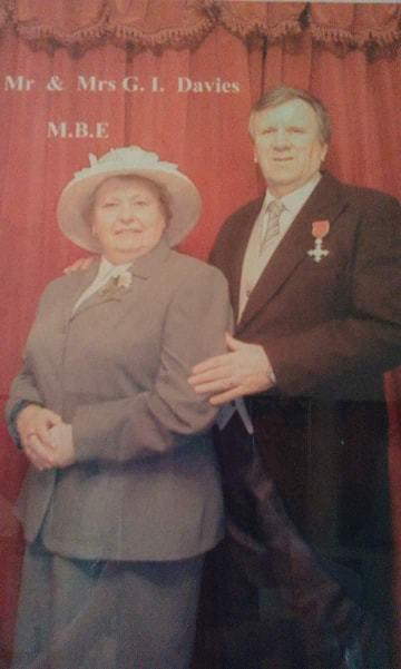 Florence Davies with her husband Ivor as he was awarded an MBE. Picture: Lydia Davies