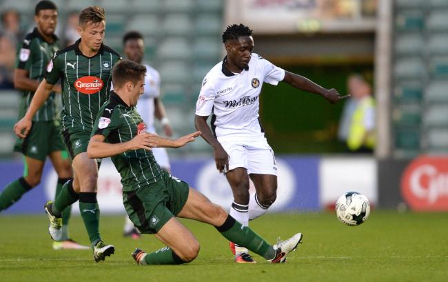 BACK ON PARADE: Jordan Green, right, in Checkatrade Trophy action for County at Plymouth Argyle in August 2016