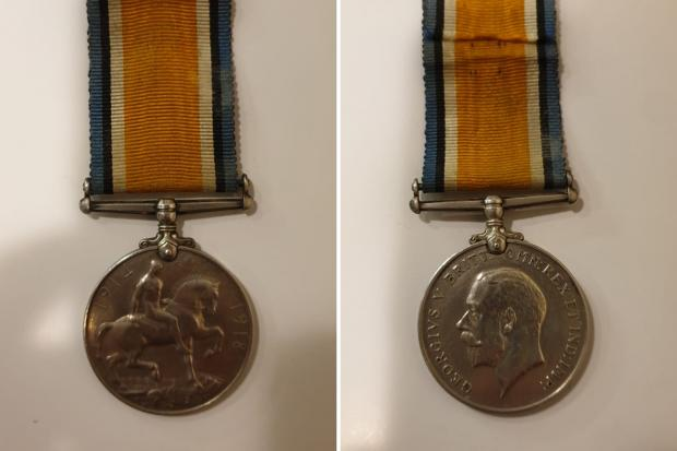 The British War Medal that collector Barry Duke would like to reunite with the living relatives of Chepstow WW1 soldier J Hughes.