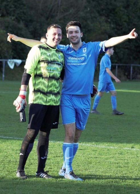 GOOD TIMES: Abertillery's Gareth Williams and Charlie Davies in celebratory mood at Ynysygerwn. Pic: Andrew Rees