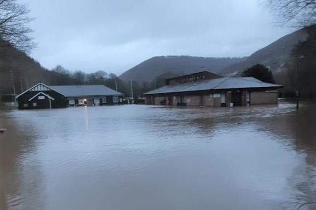 FLOODING: Cross Keys RFC's Pandy Park ground after Storm Dennis. Picture: Colin Vernall