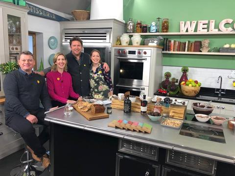 Chef Lenny from The Fox Crawley in Winchester, Michelin star chef Clare Smyth, celebrity chef James Martin, and Alison Pope, founder of the Little Welsh Chocolate Company. Picture: The Little Welsh Chocolate Company