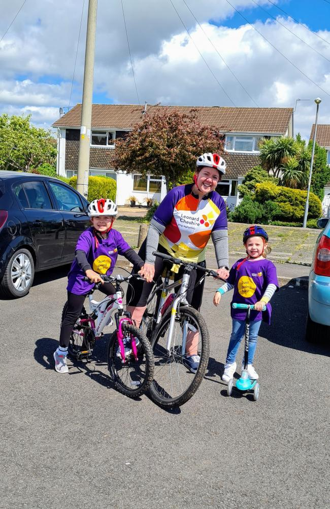 Seren, Emma and Halle Wilcox cycling to raise money for charity Leonard Cheshire. Picture: Emma Wilcox.