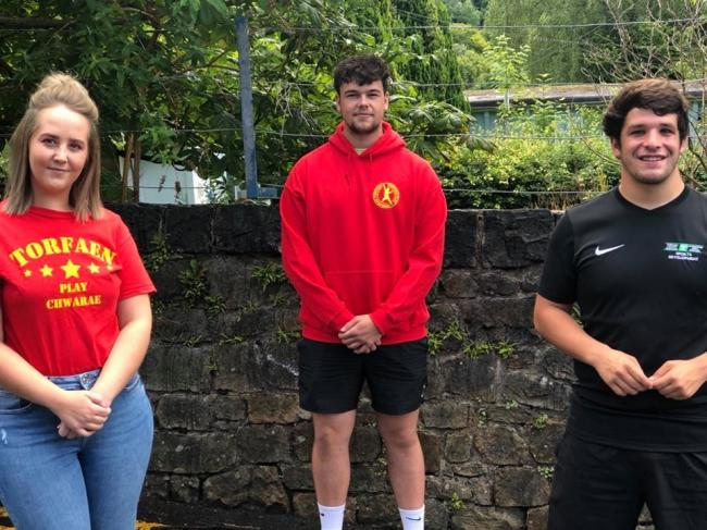 Torfaen playworkers Tyla McCarthy and Max Griffiths and sports development worker Joe Edmonds. Picture: Torfaen Play Service.