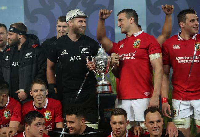 New Zealand captain Kieran Read with British and Irish Lions'  captain Sam Warburton after the third test of the 2017 British and Irish Lions tour at Eden Park, Auckland. PRESS ASSOCIATION Photo. Picture date: Saturday July 8, 2017. See PA story RUGBY