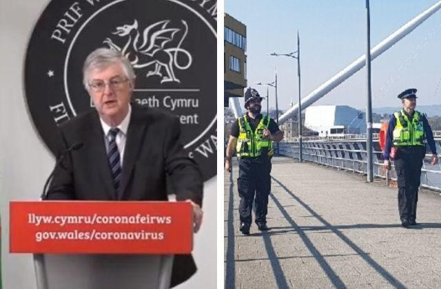 First Minister addressed issues such as local lockdowns and extending powers to enforce coronavirus regulations. Picture (right): Gwent Police