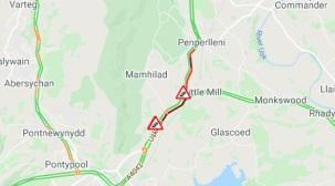 Traffic on A4042 near Pontypool at standstill due to crash
