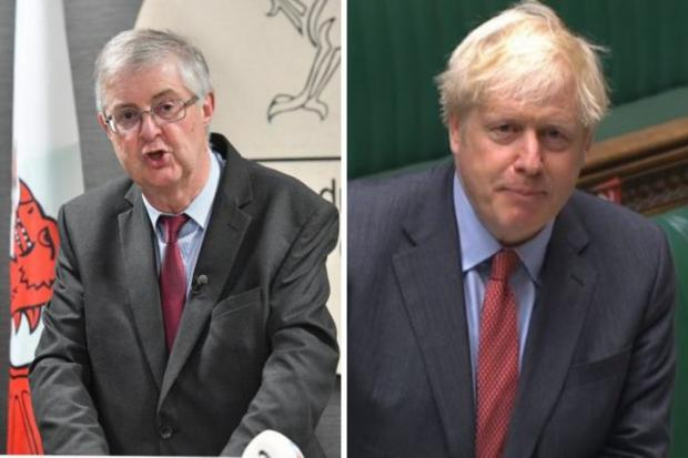 First Minister Mark Drakeford and Prime Minister Boris Johnson.