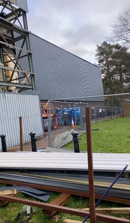 Free Press Series: The new cladding going up on the outside of Pontypool RFC's Ray Prosser Stand. Picture: Ben Jeffreys.