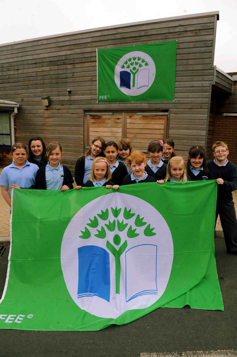 Magor school pupils with their third Green Flag