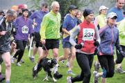 One man and his dog joining runners at the Devauden 10k last year