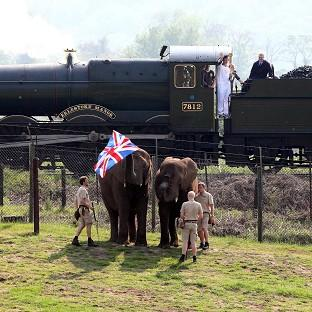 Torchbearer Christopher Stokes is greeted by elephants as he carries the Olympic flame by train between Cleobury Mortimer and Bewdley (Locog/PA)
