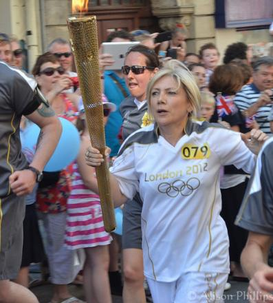 Olympic Torch Bearer at Stow Hill, Newport, from Alison Phillips of Cwmbran.