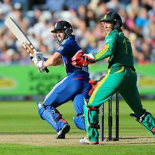 England's Chris Woakes hits out during the Fifth NatWest One Day International at Trent Bridge, Nottingham