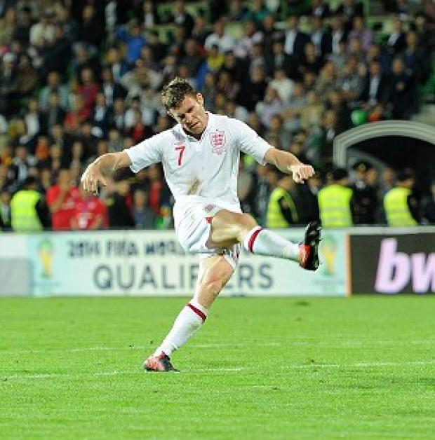 James Milner scores England's fourth goal against Moldova