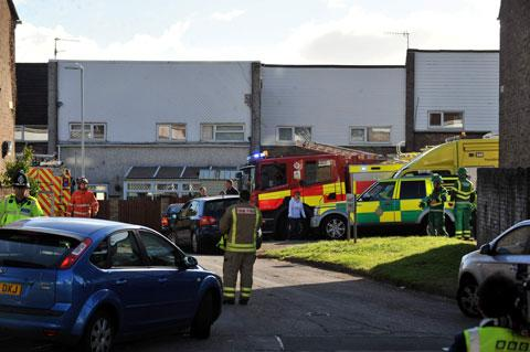 BLAZE TRAGEDY: Fire crews at the scene of the fire on Tallisland, Coed Eva in Cwmbran