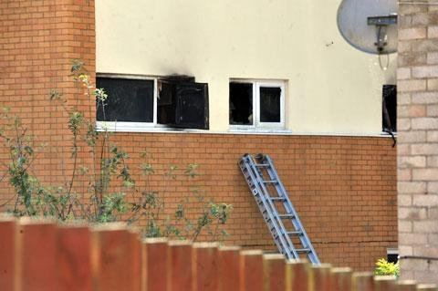 RESCUE BID: A ladder neighbours had tried to use to get into the burning building on Tallisland, Coed Eva, Cwmbran