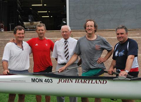 REUNION: The undefeated Monmouth Rowing Club four of 1979, from left, Jim Kelly, Robin Williams (Olympic gold medal-winning GB coach), John Hartland (the crew's coach), Nick Hartland and Mike Partridge