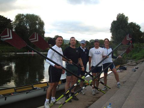 EPIC ROW: Monmouth RC rowers, left to right, Colin Lewis, Eric Froggatt, James Allison, Mark Stewart-Woods and Jon Keyte are racing 160km around Lake Geneva