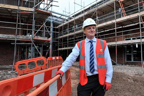 WORK IN PROGRESS: Simon Williams the Operations manager for builder Willmott Dixon at the Rhadyr campus site