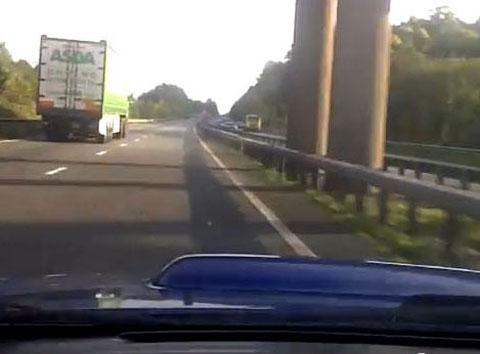 DANGEROUS: The car speeds past other traffic on the video