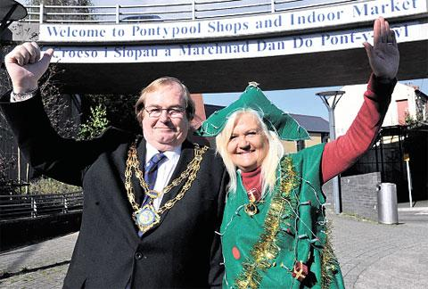 FESTIVE FUN: Cllr Barry Taylor will be switching the lights on and joining the fun is ward member for Pontypool Gaynor James, dressed as a Christmas tree