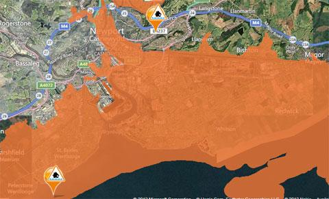 Areas of Gwent with an amber flood alert today