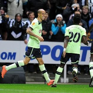 Gabriel Obertan, left, celebrates scoring for Newcastle United against Brugge